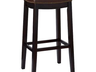 linon Manhattanesque Backless Bar Stool  Brown Vinyl Seat