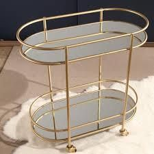 piper gold tone bar cart by abbyson service