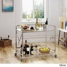 ignatius industrial modern glass bar cart