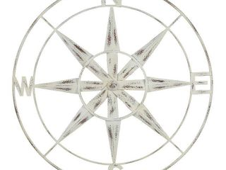 Stratton Home Decor Distressed White Compass Wall Decor   26 50 X 1 00 X 26 50