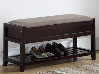 Roundhill Furniture Rouen Seating Bench with Shoe Storage  Espresso