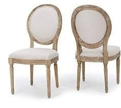 Phinnaeus French Country Fabric Dining Chairs set of 2 by Christopher Knight Home light grey