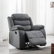 jim modern upholstered manual recliner grey