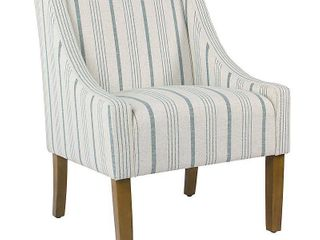 HomePop Modern Swoop Accent Chair   Blue Calypso Stripe  Retail 227 49