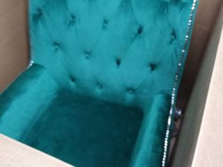 pamo a velvet green chair studded and tufted with silver legs