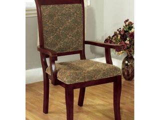 Furniture of America Kizi Traditional Cherry Fabric Arm Chairs  Set of 2  Retail 262 99