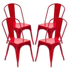 morden industrial style iron dining chair set of 2 red
