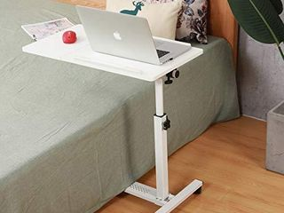Rolling laptop Table Rolling laptop Desk with Wheels Rolling laptop Stand Adjustable Overbed Bedside Table Overbed Desk White