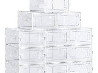 SONGMICS Shoe Boxes  Pack of 18 Stackable Shoe Storage Organizers  Foldable and Versatile for Sneakers  Fit up to US Size 8 5  Transparent and Black UlSP18SBKV1