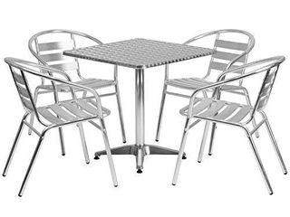 Flash Furniture 27 5  Square Aluminum Indoor Outdoor 4 Slat Back Chairs