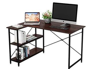 Bestier Computer Desk with Storage Shelves Under Desk  Small l Shaped Corner Desk with Shelves 47 Inch Writing Desk Table with Storage Tower Shelf Home Office Desk for Small Spaces P2 Wood  Brown