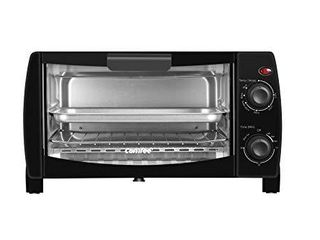 COMFEE  Toaster Oven Countertop  4 Slice  Compact Size  Easy to Control with Timer Bake Broil Toast Setting  1000W  Black  CFO BB101