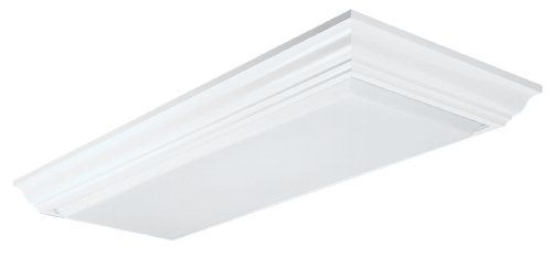 lithonia lighting 11432RE WH Cambridge linear T8 Flush Mount Ceiling light  White   Wood Crown Molding  53 5  x 23 5