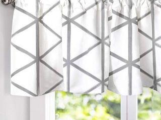 DriftAway Raymond Geometric Triangle Trellis Pattern Window Curtain Valance  2 layer  Rod Pocket   Soft White and Gray  Set of 6