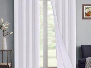 PrimeBeau 100 Percent Blackout Waterproof Coating Thermal Insulated Grommet Curtains