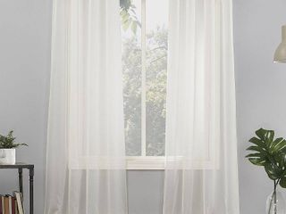 Emily Sheer Voile Grommet Top Curtain Panel Pair  Off White