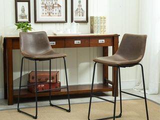 Roundhill Furniture lotusville Vintage PU leather Bar Stools  Antique Brown  Set of 2