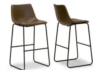 Adam Faux leather Iron Frame Barstool  Set of 2