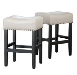 lizette 26 in  Backless Ivory leather Bar Stool  Set of 2  by Christopher Knight