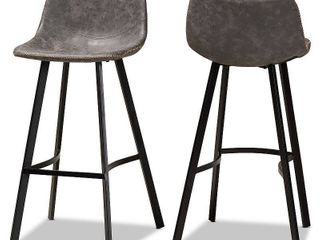 Tani Faux leather Upholstered Metal Barstools Gray Black   Baxton Studio  Set of 2