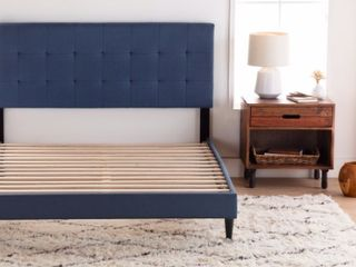 Cooper Grove Ayrum Cal King Upholstered Bed Frame with Square Tufted Headboard  Slight Damage to Top of Headboard