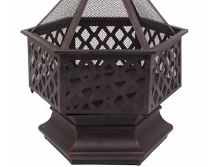 22 in Hexagonal Shaped Iron Brazier Wood Burning Fire Pit  Missing Hardware  Retail 123 99