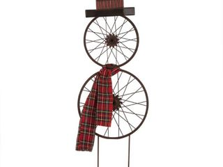 Metal Bike Wheel Snowman with Plaid Scarf Yard Stake   Glitzhome
