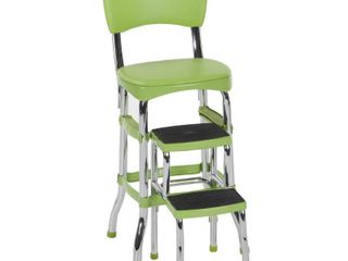 Retro Counter Chair with Step Stool Green   Cosco