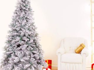 Suncrown 7FT Premium Artificial Snow Rocked Christmas Tree  Retail 129 99