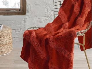 Modern Threads Faux Fur Throw  Red