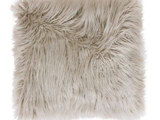 Keller Faux Mongolian Reverse to Micromink Oversized Square Pillow Oatmeal   Decor Therapy