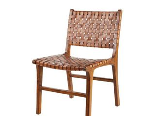 Armless Teak Wood  amp  Top Grain leather Dining Chair  Set of 2  Retail 366 49