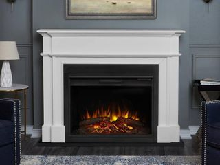 Harlan Grand Electric Fireplace in White  No Insert Retail 879 98