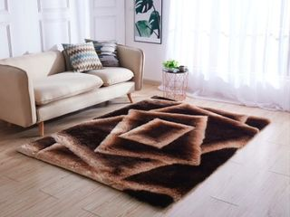 Mateos Shag Collection Brown Beige Abstract Area Rug  Retail 171 99