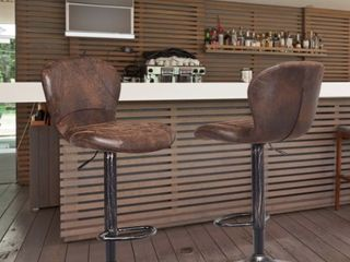 Set of 2 Adjustable Swivel Bar Stool with Footrest Retro Style  Retail 173 49