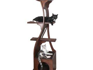 The Refined Feline  lotus Cat Tower  Mahogany  Retail   365 83