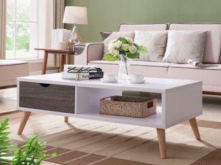 Furniture Of America Bjua Modern Grey And White Coffee Table