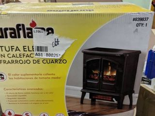Duraflame 19 5 in W 5200 BTU Black Metal Infrared Quartz Electric Stove with Thermostat