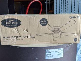Harbor Breeze Armitage Builder Series 52 in White lED Indoor Flush Mount Ceiling Fan  5 Blade