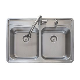 Franke Fast in 33 5 in x 22 5 in Stainless Steel Double Basin Drop in 2 Hole Commercial Kitchen Sink All In One Kit