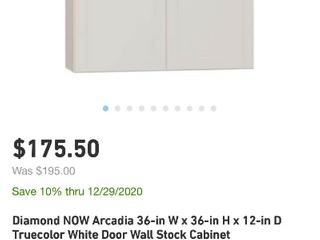 Diamond NOW Arcadia 36 in W x 36 in H x 12 in D Truecolor White Door Wall Stock Cabinet