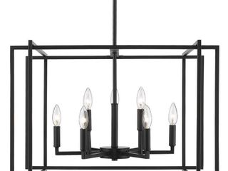 Tribeca 9 light Chandelier in Black with Black Accents