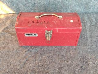 Stack On metal tool box with contents