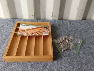 bamboo kitchen drawer organizer with solar plate spoons