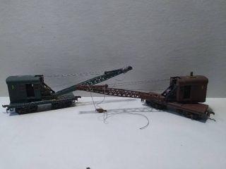 2 HO Model Train Crane Cars