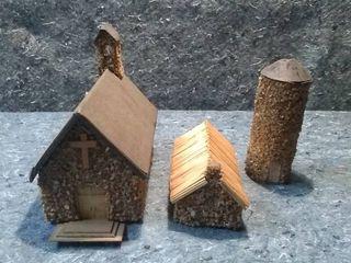 Handmade HO Model Train Chapel Set