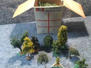 Box of HO Model Train Shrubbery and Trees