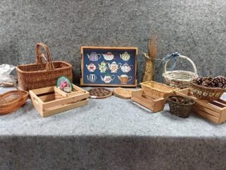 lot of Baskets and Decorative Items