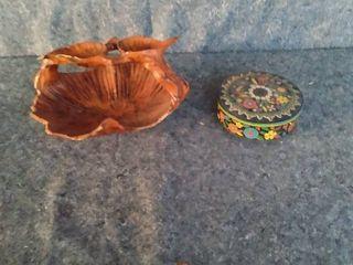 wood art bowl and decorative tin