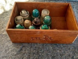 wooden box with insulators